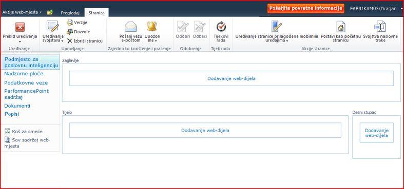 Stranica web-dijela sadrži područja za dodavanje web-dijelova