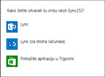 Snimak zaslona s obavijesti programa Lync za odabir programa