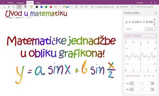 Grafičke matematičke jednadžbe u programu OneNote za Windows 10