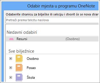 Snimka zaslona s prozorom programa OneNote u kojem možete odabrati u koju se stranicu unose bilješke putem servisa Skype.
