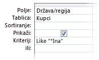 """Slika dizajnera upita s prikazom kriterija koji koristi sljedeće operatore, """"npr. zamjenski znak u"""""""