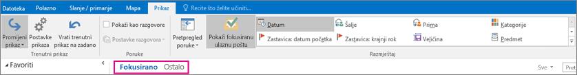 Kartice U fokusu i Ostalo nalaze se pri vrhu ulazne pošte kada je odabrana mogućnost Prikaži fokusiranu ulaznu poštu