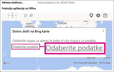 Odabir podataka za aplikaciju Bing karte za Office u aplikaciji programa Access