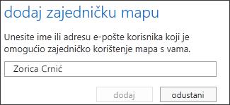 Dijaloški okvir Dodavanje zajedničke mape u web-aplikaciji Outlook Web App