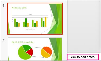 Prikazuje okno s bilješkama u programu PowerPoint 2016 za Mac
