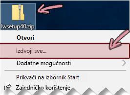 Desnom tipkom miša kliknite komprimiranu zip datoteku da biste iz nje izdvojili datoteku.