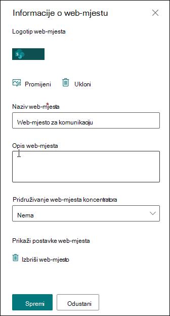 Ploča s informacijama o web-mjestu sustava SharePoint