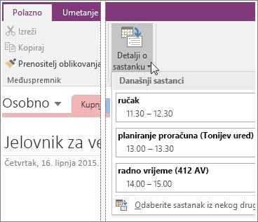 Snimka zaslona gumba Upravljanje detaljima u programu OneNote 2016.