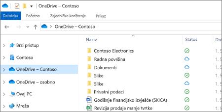 Snimka zaslona na kojoj su prikazane datoteke sa servisa OneDrive za tvrtke u eksploreru za datoteke