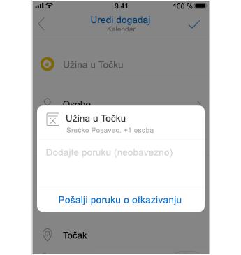 Zaslon za otkazivanje s mjestom za dodavanje poruke