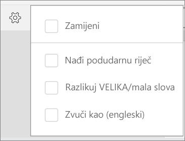 Prikazuje mogućnosti Zamijeni, Match programa Word, velika/mala slova i Zvuči kao za pretraživanje u programu Word za Android.