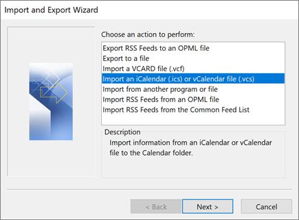 Uvoz kalendara u programu Outlook