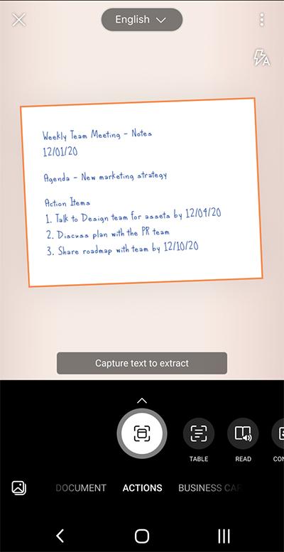 Snimka zaslona s aplikacije Microsoft Lens na telefonu sa sustavom Android