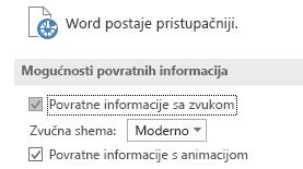 Djelomični prikaz postavki pristupačnosti u programu Word