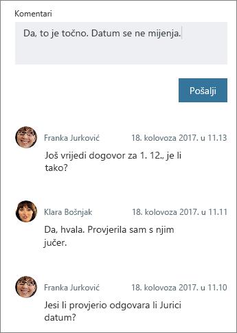 Dodavanje novog komentara na zadatak