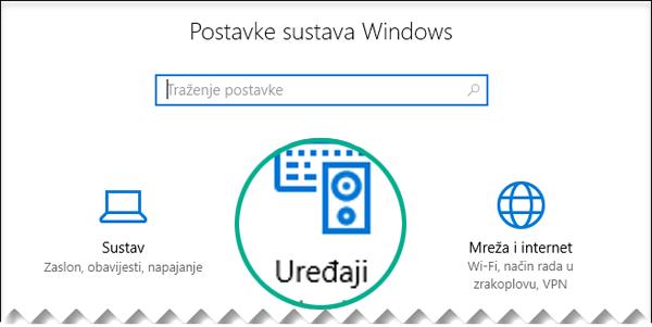 Odaberite Uređaji u dijaloškom okviru Postavke sustava Windows