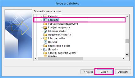 Čarobnjak za izvoz u programu Outlook – Odabir kontakata
