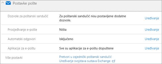 Snimka zaslona: Postavke za poštu sustava Office 365