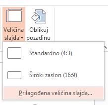 Na izborniku Veličina slajdova kliknite Prilagođena veličina slajdova.