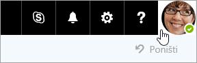 Snimka zaslona s korisničkom slikom na traci izbornika sustava Office 365.
