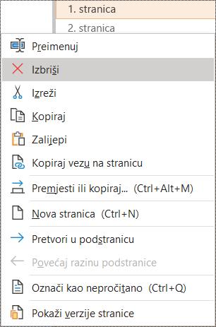 Dijaloški okvir za brisanje stranice u programu OneNote za Windows