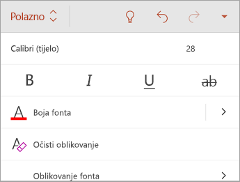 Kartica Polazno s mogućnostima oblikovanja fonta
