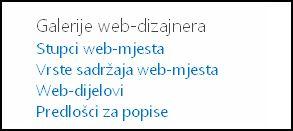 Mogućnosti u odjeljku Galerije web-dizajna sa stranice Postavke web-mjesta u sustavu SharePoint Online