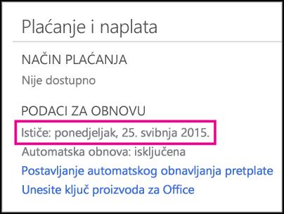 Detalji o obnavljanju pretplate na stranici računa za Office 365.