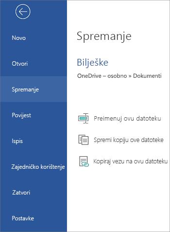 Spremanje datoteke