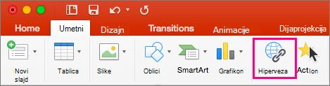 Pokazuje karticu Umetanje u programu PowerPoint 2016 za Mac