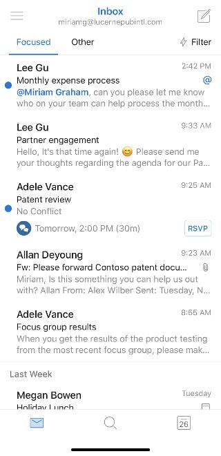 Sadrži poruke e-pošte u ulaznoj pošti. Na vrhu, poruka e-pošte počinje uz spominjanje.