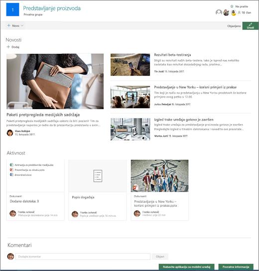 Početna stranica web-mjesta za timovima sustava SharePoint