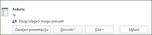 Snimka zaslona s uklanjanjem stranice s anketom