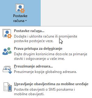 Mogućnosti dostupne kad odaberete postavke računa u programu Outlook
