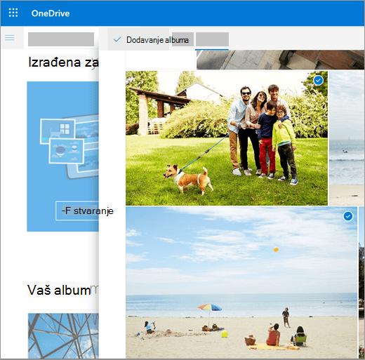Snimka zaslona stvaranja albuma na servisu OneDrive