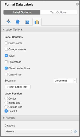 Oblikovanje natpisa nad podacima u sustavu Office za Mac
