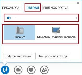 Snimka zaslona izbornika zvuka u sastanku