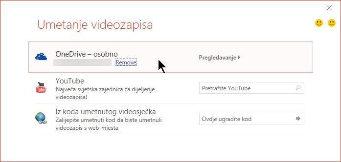 Dijaloški okvir Umetanje videozapisa obuhvaća mogućnost otvaranja ili ugrađivanja videozapisa sa servisa OneDrive.
