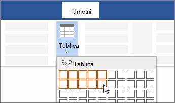 Umetanje tablice odabirom broja ćelija povlačenjem