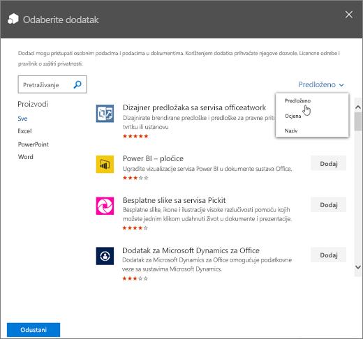 Snimka zaslona na kojoj se prikazuje dijaloški okvir Odabir dodatka iz Office trgovine. Padajuća kontrola za pregled dostupnih dodatak prikazuje kategorije Predloženo za vas, Ocjene i Naziv.