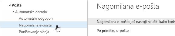 Snimka zaslona s pokazivačem iznad mogućnosti Nagomilana e-pošta na izborniku Postavke.