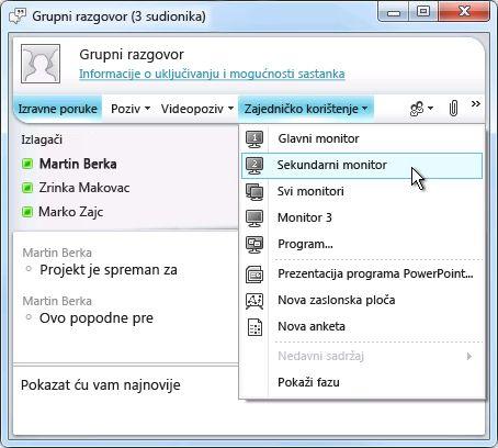 prozor programa microsoft lync s mogućnostima zajedničkog korištenja zaslona