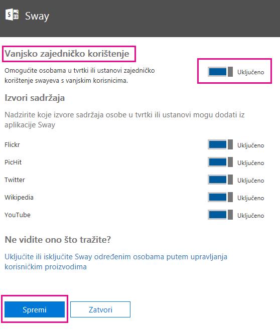 """Postavku """"Vanjsko zajedničko korištenje"""" postavite na Uključeno ili Isključeno ovisno o tome što je prikladno za vašu situaciju pa kliknite Spremi."""