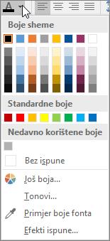 paleta boja fonta