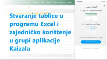 Snimka zaslona: Stvaranje tablice u excel i zajedničko korištenje na grupu kaizala