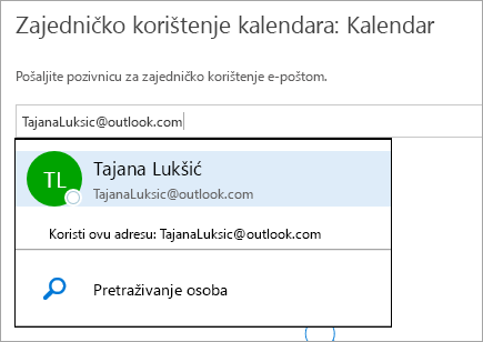 Snimka zaslona dijaloškog okvira Zajedničko korištenje kalendara na servisu Outlook.com.