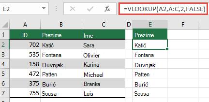 Koristite tradicionalnu VLOOKUP s jednom lookup_value referencom: = VLOOKUP (a2; A:C; 32; FALSE). Ova formula neće vratiti dinamičko polje, no može se koristiti i u tablicama programa Excel.