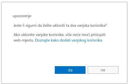 poruka s upozorenjem prije brisanja računa vanjskog korisnika