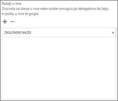 Snimka zaslona: Odaberite znak plus da biste dodali korisnike koji će se slati kao grupu sustava Office 365
