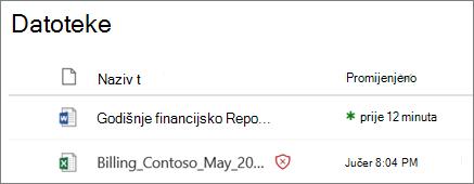 Snimka zaslona s datotekama na servisu OneDrive za tvrtke s jednim otkriveni kao zlonamjerni